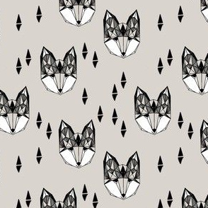 SMALL fox // geometric fox head woodland animals grey nursery baby baby boy kids design