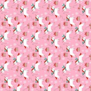 MINI christmas unicorn - pink christmas, pink unicorn, unicorn christmas, cute christmas, christmas fabric, christmas fabric by the yard - pink
