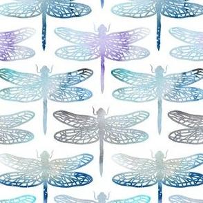 Watercolour dragonflies - blue - medium scale