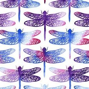 Watercolour dragonflies - purple - medium size