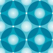 Caribbean Blue Floral Circle Lock Print 2