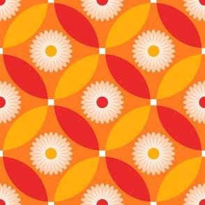 Red and Orange Flower Circle Lock Pattern