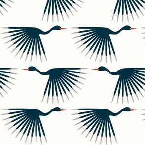Art Deco Cranes - Navy on just barely off-white