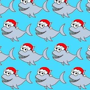 Cute Christmas Shark - on blue