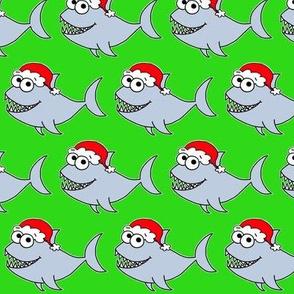 Cute Christmas Shark - on green