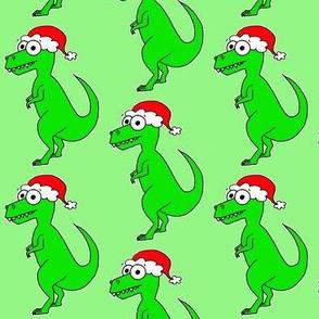 Christmas T Rex - on green