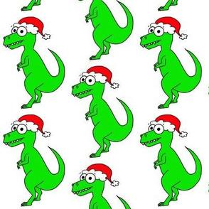 Cute Christmas T Rex - on white