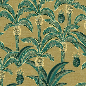 palm leaves on linen