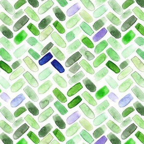 Green watercolor herringbone with touch of blue