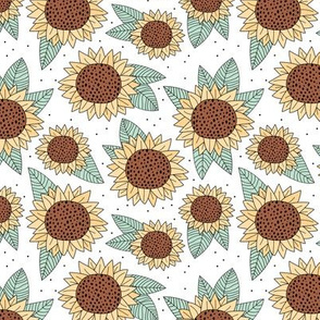 Sunflower fields boho flower garden yellow mint