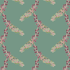 FINALE Italian berry, floral flowers, foliage, green, purple, pink, ream, gold hand-drawn repeating pattern