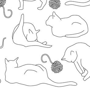 Black Cat Outlines on White Large