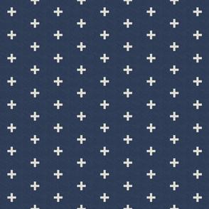 ivory linen swiss cross on navy linen