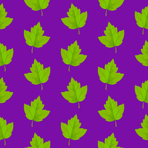 Green Leaves on Purple (Large Size)