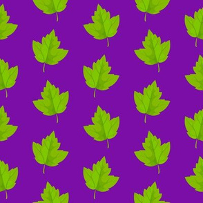 Green Leaves on Purple (Small Size)