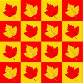 Checkered Red & Yellow Leaves (Small Size)
