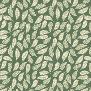 FINALE Italian Berry green and cream leaves leaf foliage repeating pattern hand drawn design