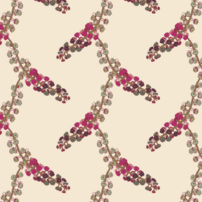 Finale Italian Berry hand drawn repeating pattern greens cream pink purple on a cream background