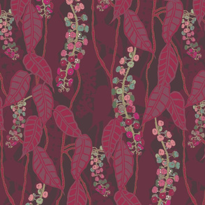 Finale Italian Berry rich reds and purple green pink  and cream with leafy foliage hand drawn repeating pattern