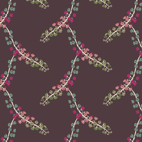 Finale Italian Berry hand drawn repeating pattern design for interiors purple pink cream green