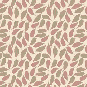 Finale Italian berry leaves pink green cream hand drawn  repeating pattern