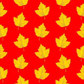 Yellow Leaves on Red (Large Size)