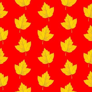 Yellow Leaves on Red (Small Size)