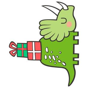 Christmas Holiday Triceratops Dinosaur Pillow Plush Plushie Softie Cut & Sew