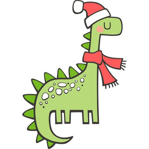 Christmas Holiday Dinosaur Pillow Plush Plushie Softie Cut & Sew
