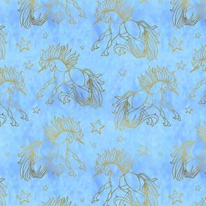 Gold and Blue Unicorns