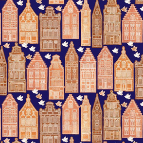 Gingerbread Houses deep blue sky mix