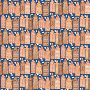 Small Gingerbread Houses denim blue mix