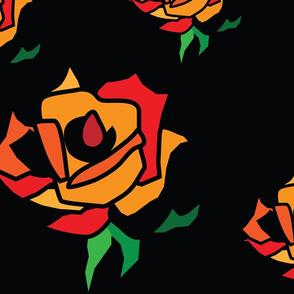 Seamless Rose Flowers Pattern Illustrator on black background.