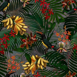 "18"" Tropical Night - Toucan in palm jungle with tropical flowers and bananas - dark gray"