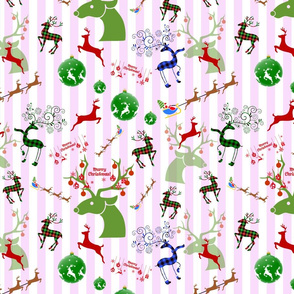 Wild Christmas Reindeer! Pink Candy Stripe