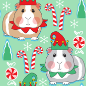 guinea pig elves on mint green
