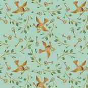 Birds and Keys {Celadon} - medium