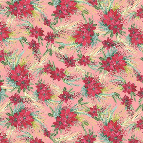 merry and bright Christmas floral vintage pink