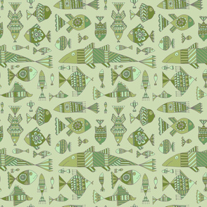 Small funny fishes on green background