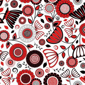 Elegant Modern Flowers - Red, Black and White