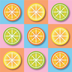 Citrus Pop Art in Lemon, Lime and Orange