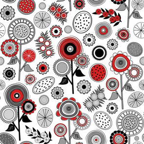 Red, Black and White Mid Century Modern Field of Flowers - V1