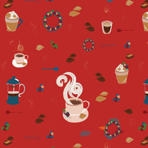 Coffee collection Christmas pattern