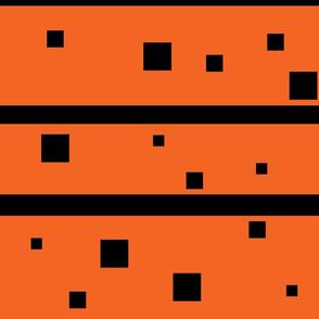 Orange and Black squares and Stripes Jumbo
