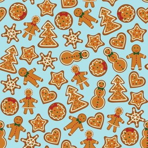 Gingerbread on blue