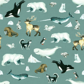 Arctic Pals / Watercolour Arctic Animals on Teal Linen Background