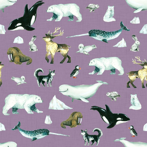 Arctic Pals / Watercolour Arctic Animals on Purple Linen Background