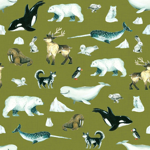 Arctic Pals / Watercolour Arctic Animals on Green Linen Background - Larger