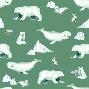 White Arctic Animals and Ice on Green Background