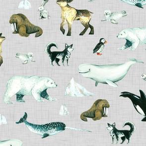 Arctic Pals / Watercolour Arctic Animals on Light Linen Background